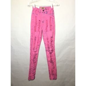 Aphrodite Pink Acid Wash High Waisted Skinny Jeans